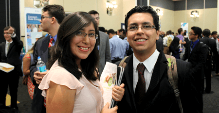 Female and male students at internship fair