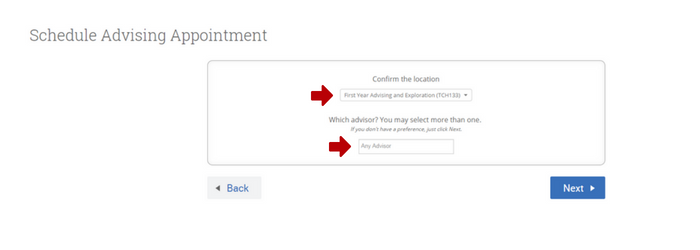 Image showing how to confirm the advising appointment location