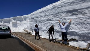 An ice wall in Rocky Mountain National Park during June.
