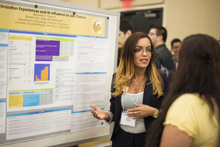 Student explaining at the Showcase of Undergraduate Research